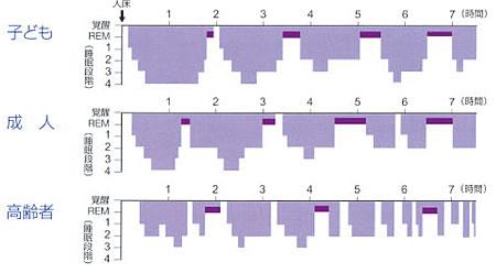 一夜の睡眠の深さの変化と経過グラフ